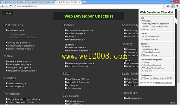 Web Developer Checklist插件